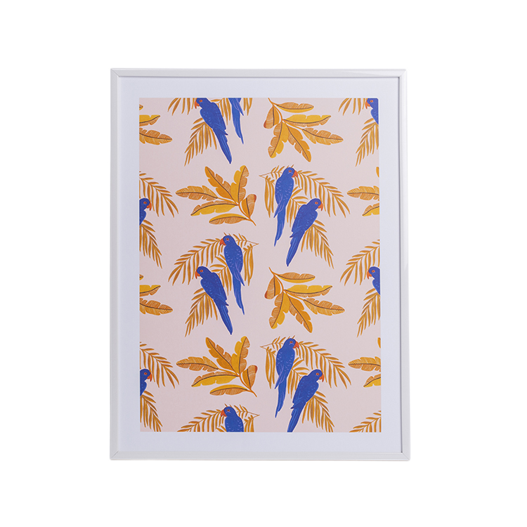 Affiche A4 imprimée tropical perroquets bleus 21x30