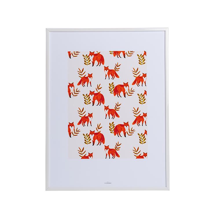 Affiche A3 imprimée renards en forêt 30x40
