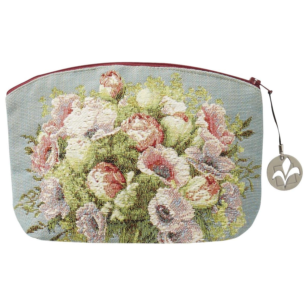 Trousse bouquet tissée bleu 15x20