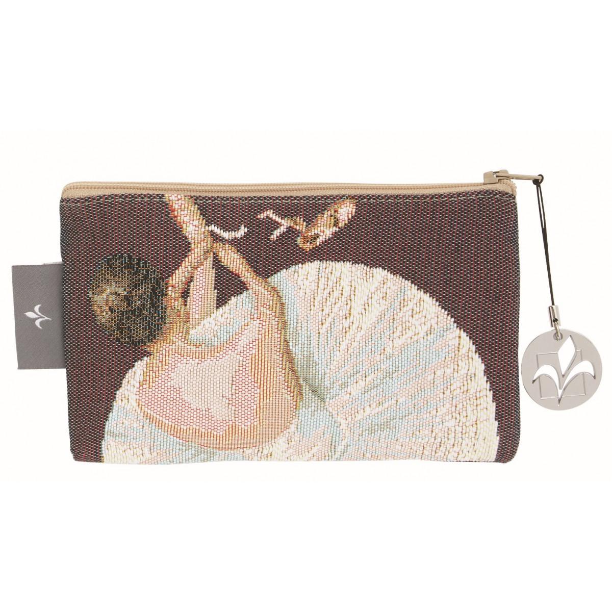 Pochette tapisserie danseuse et chaussons violet 11x17