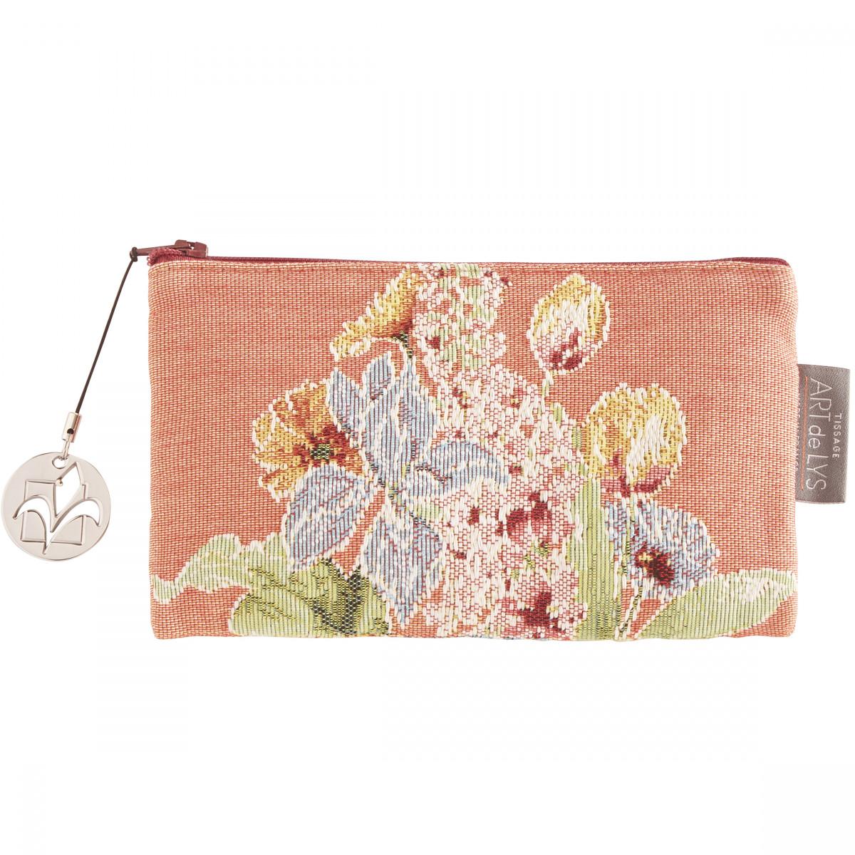 Pochette  tapisserie parterre de fleurs orange 11x17