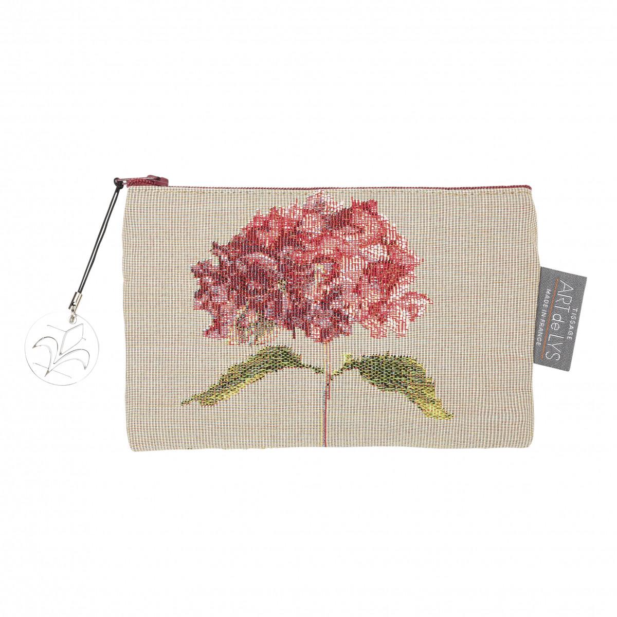 Pochette tapisserie hortensias beige 11x17