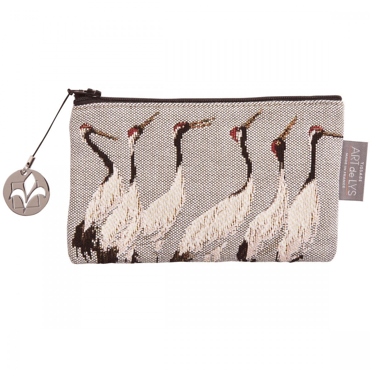 Pochette tapisserie grues blanches gris 11x17