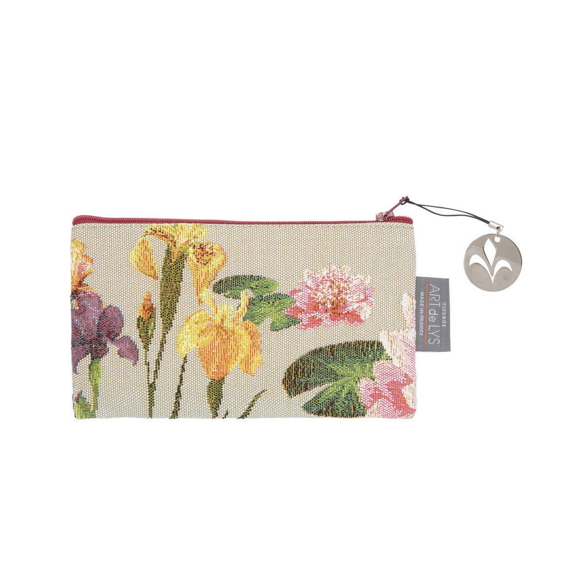 Pochette tapisserie giverny multi fleurs gris 11x17