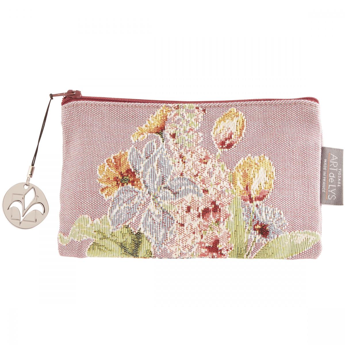Pochette  tapisserie parterre de fleurs violet 11x17