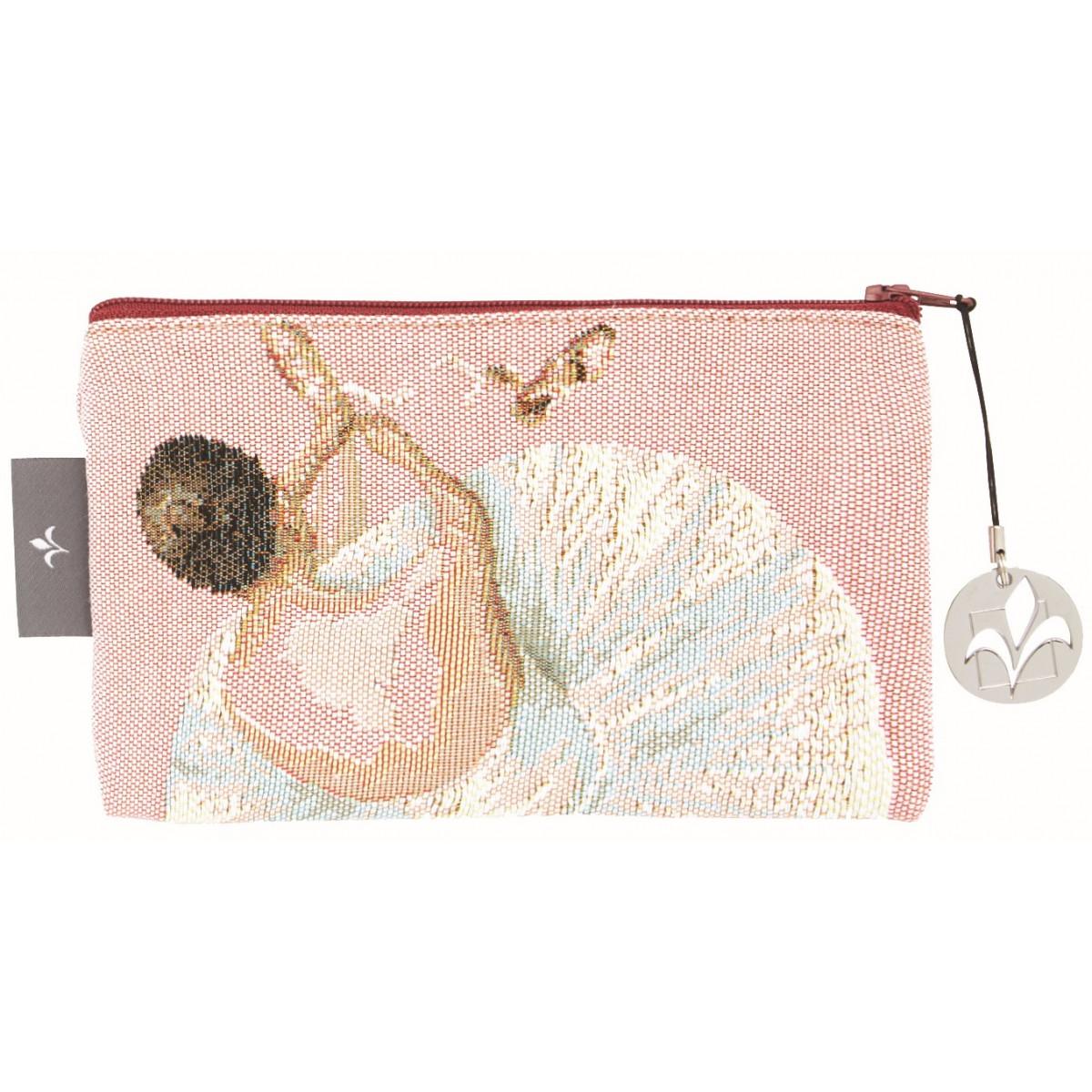Pochette tapisserie danseuse et chaussons rose 11x17