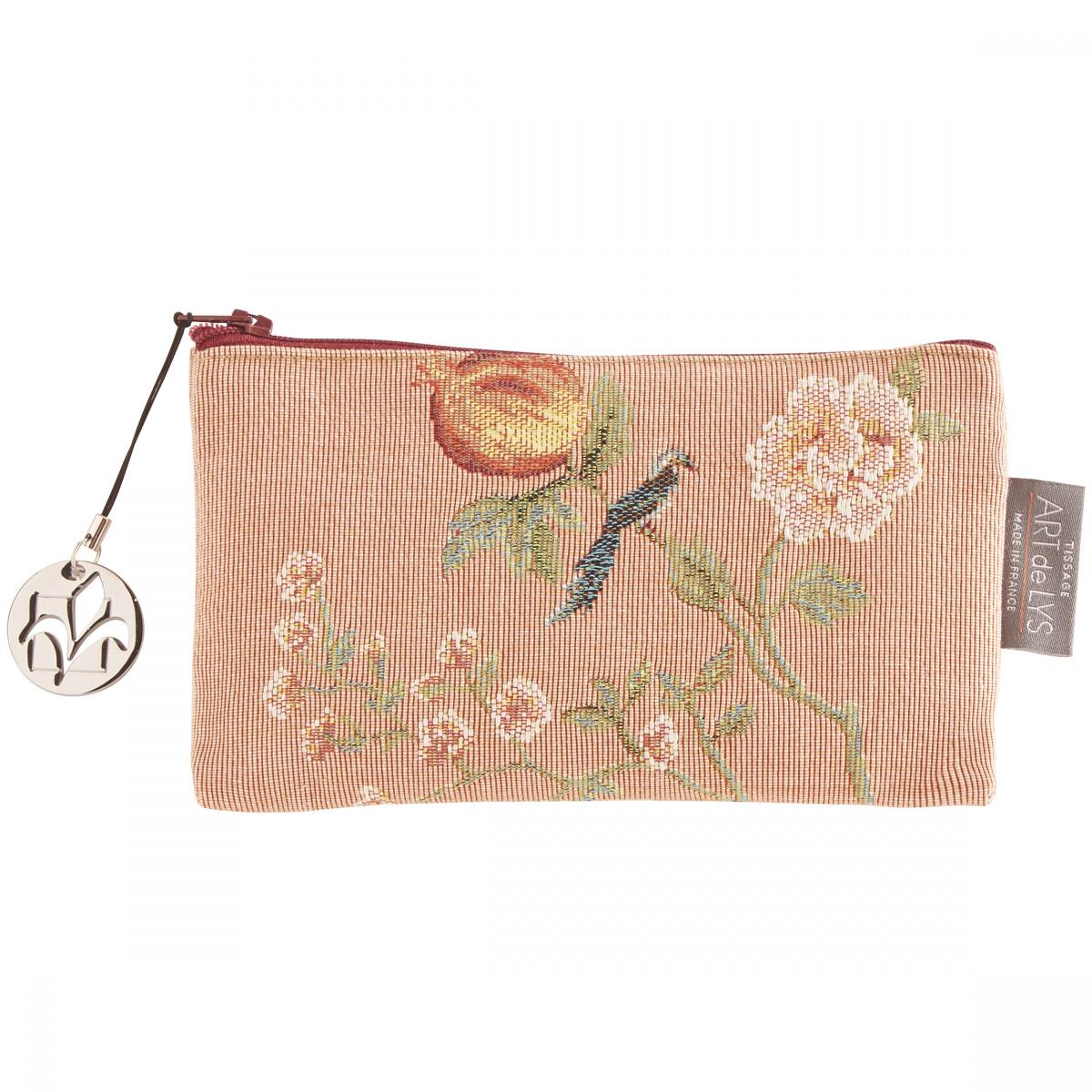 Pochette  tapisserie grenadier aux oiseaux rose 11x17