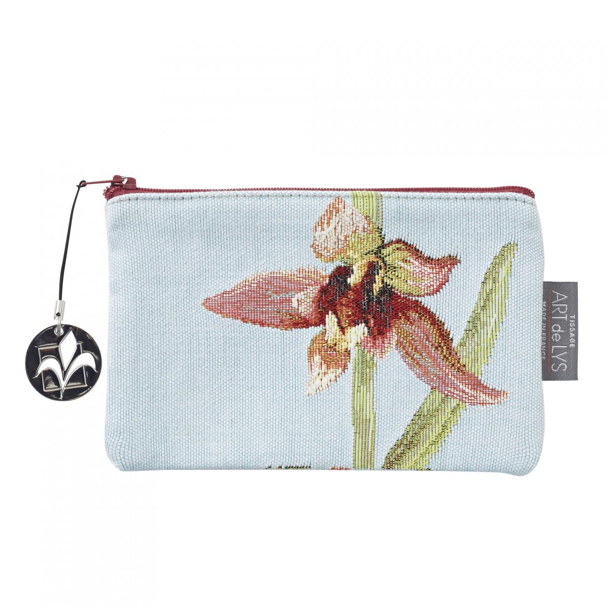 Pochette orchidees tissée bleu 11x17