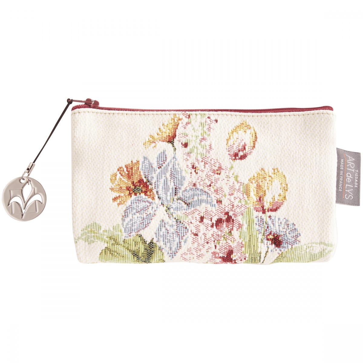 Pochette  tapisserie parterre de fleurs blanc 11x17