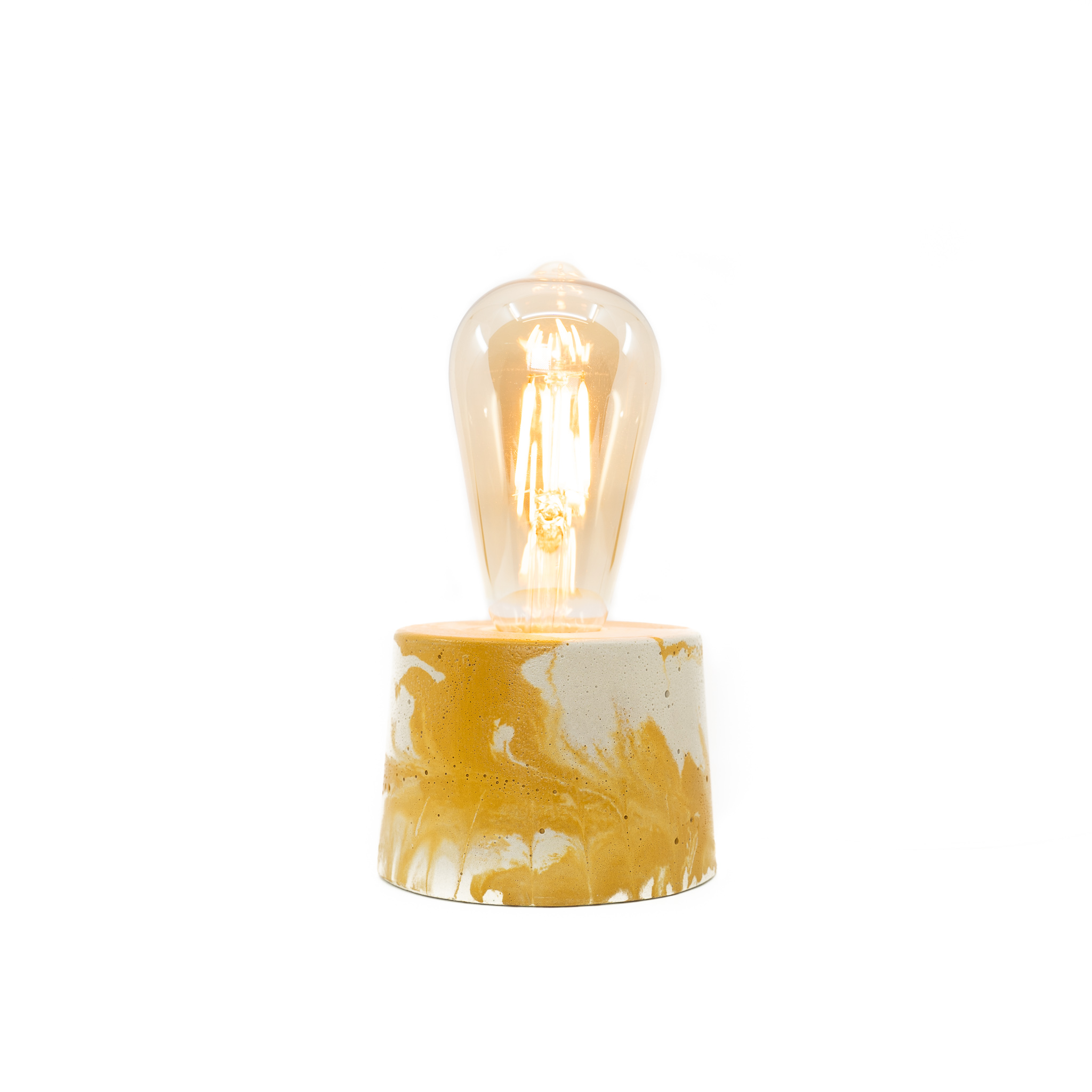 Lampe cylindre marbré en béton jaune et bleu fabrication artisanale
