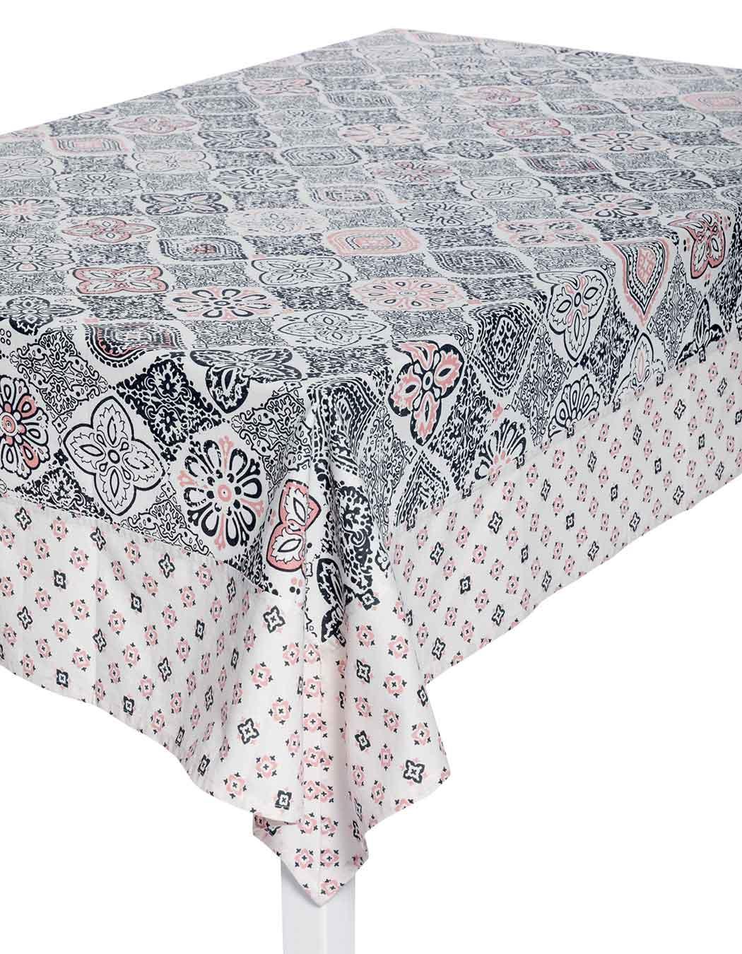 Nappe biprint en coton anthracite 170 x 170