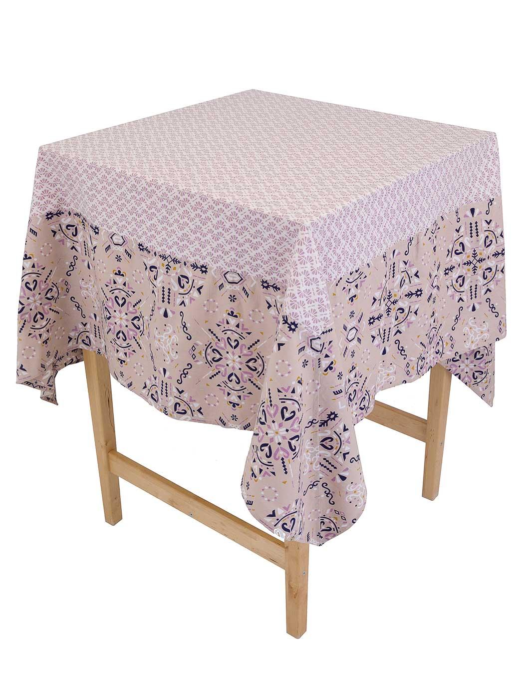 Nappe carrée biprint en coton gres 170 x 170