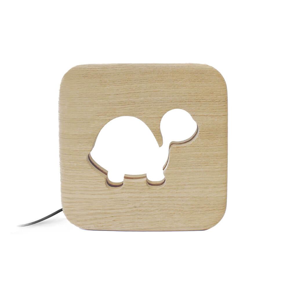 Lampe à poser veilleuse en bois tortue