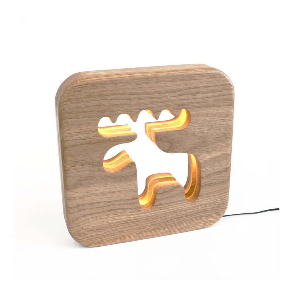 Lampe à poser veilleuse en bois caribou
