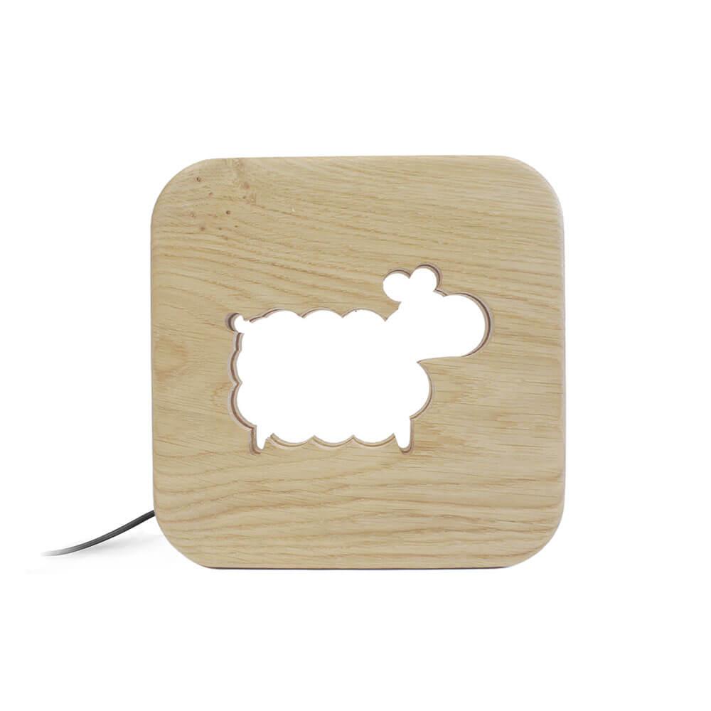 Lampe à poser veilleuse en bois mouton