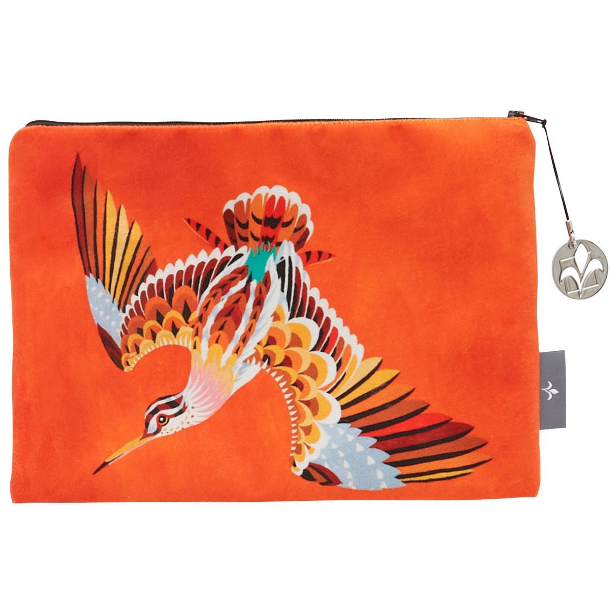 Trousse bécasse velours orange 27x17