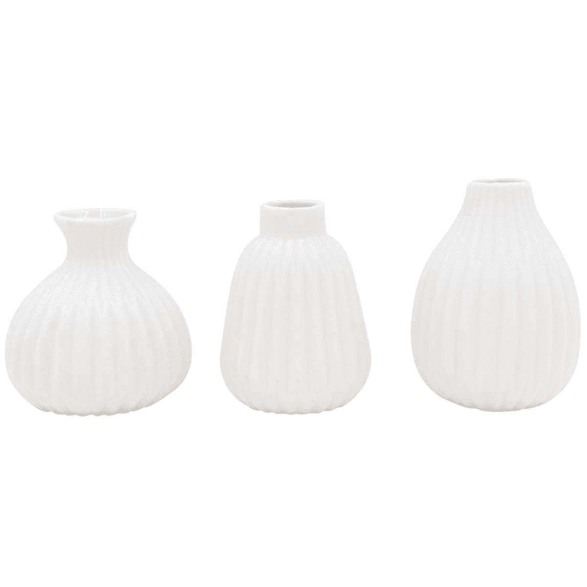 Set de 3 petits vases en porcelaine blanche