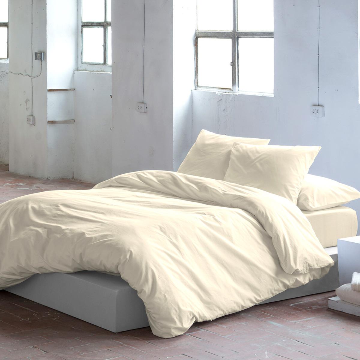 Housse de couette en coton cème 155x220 cm