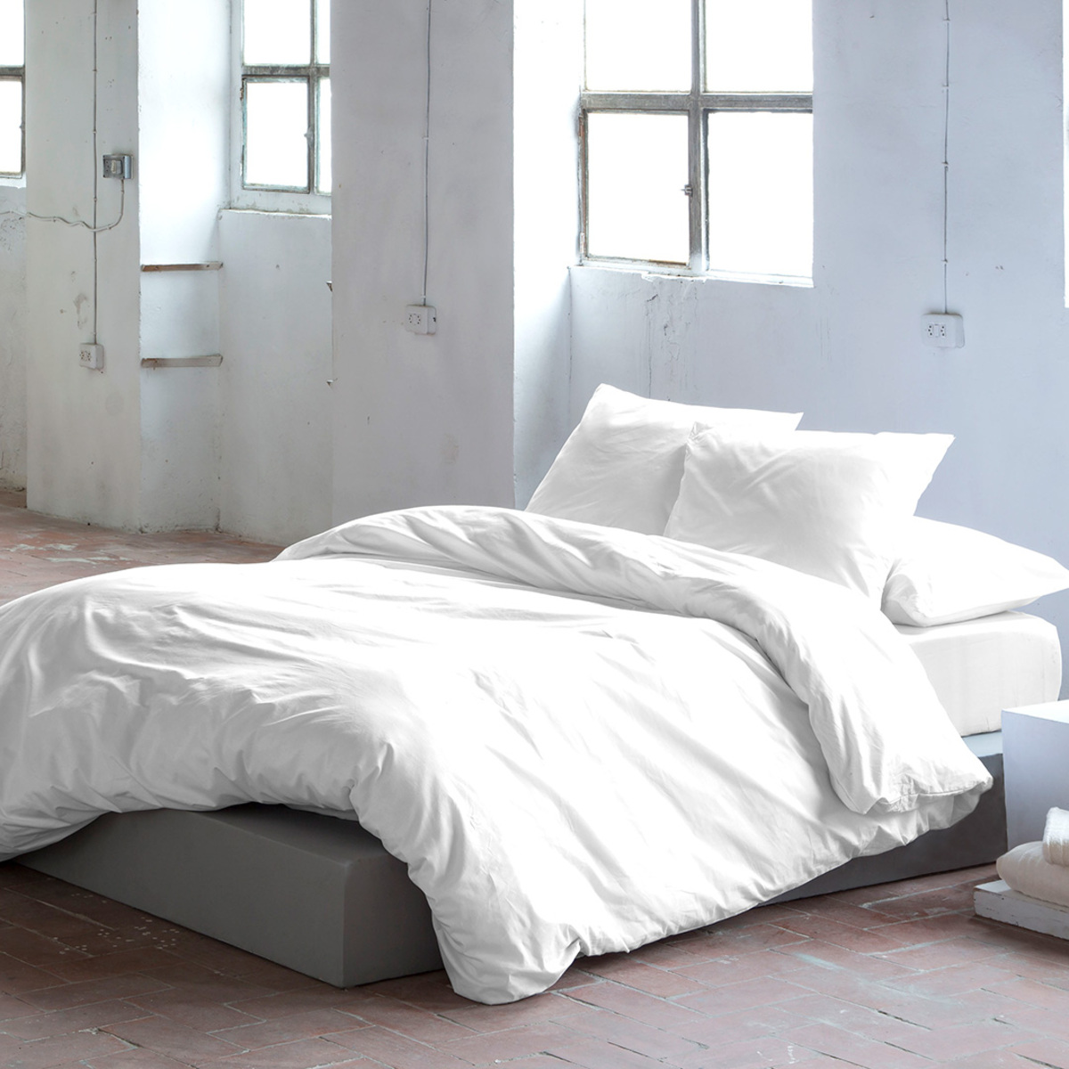 Housse de couette en coton blanc 200x200 cm