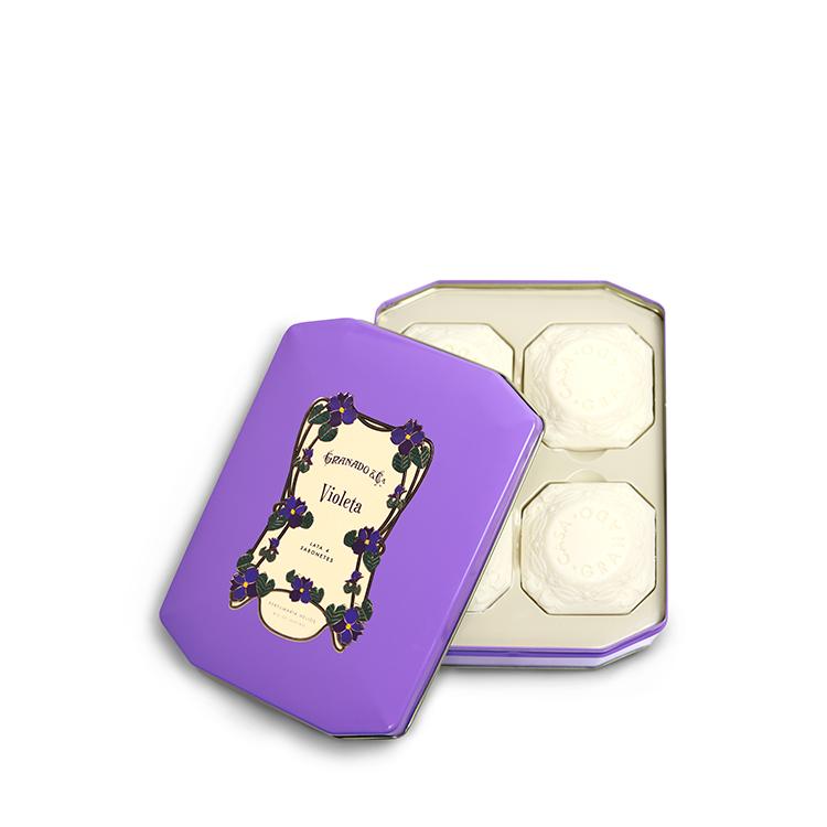 Coffret en métal avec 4 savons à la violette