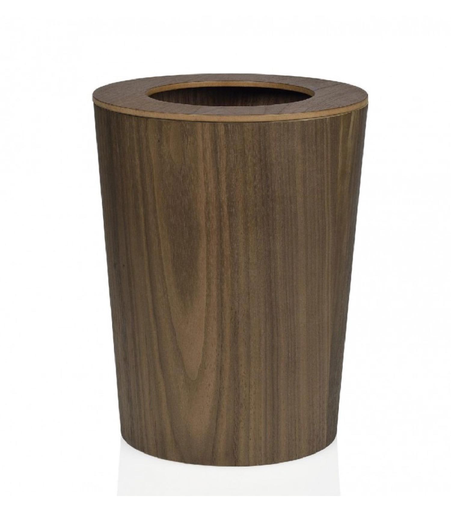 Corbeille de bureau en bois de noyer