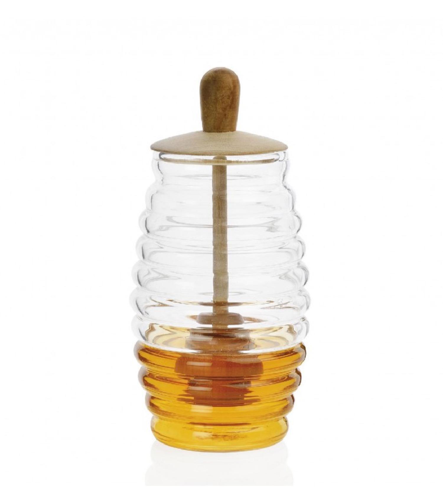 Pot à miel en verre et bois D7,5cm