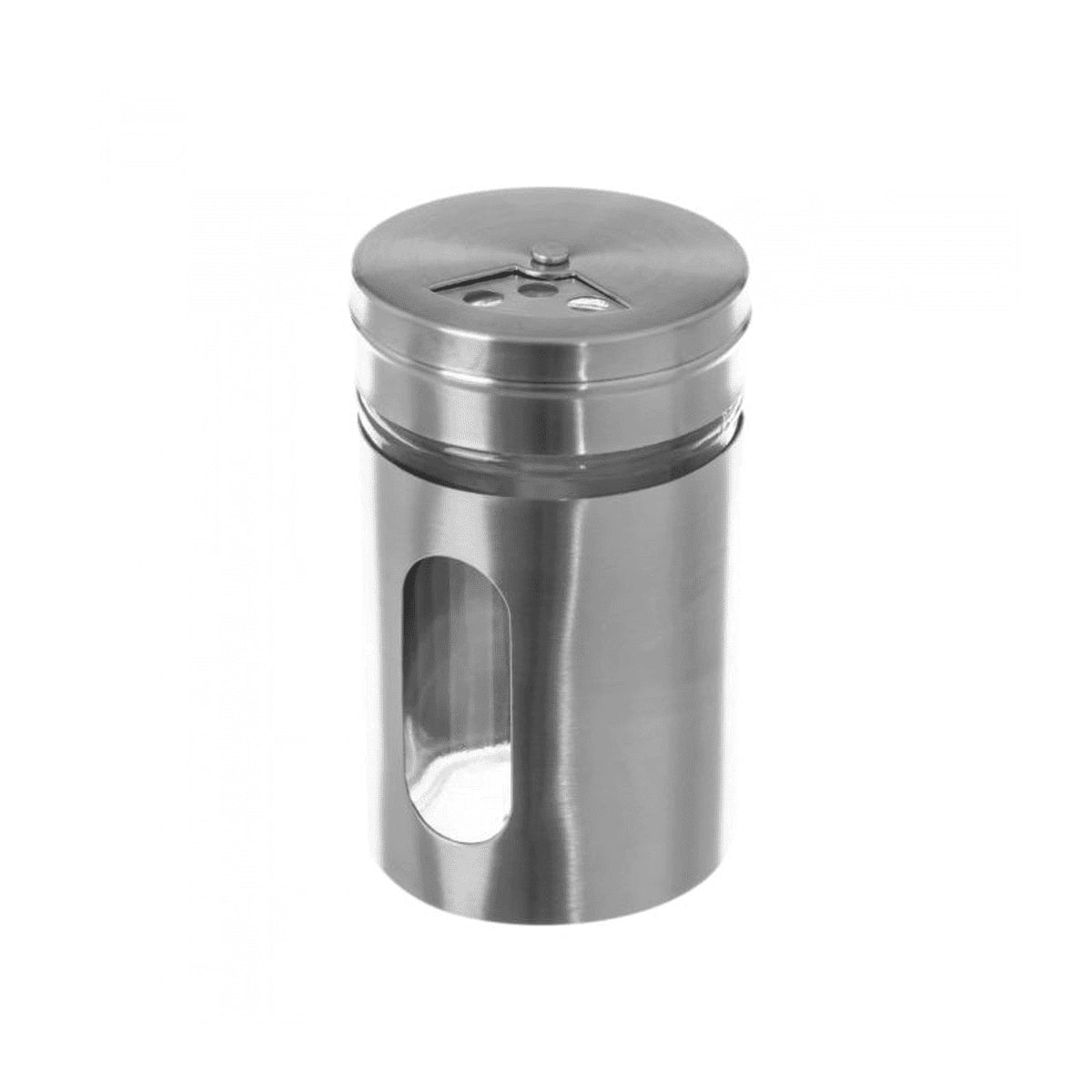 Pot à épices rond en métal et verre