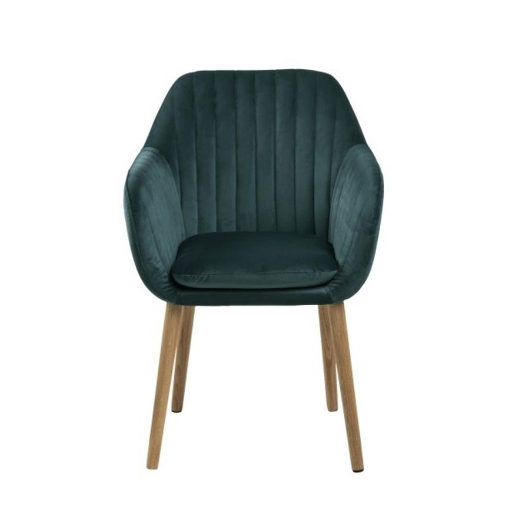 Chaise rembourrée en velours pieds bois vert bouteille
