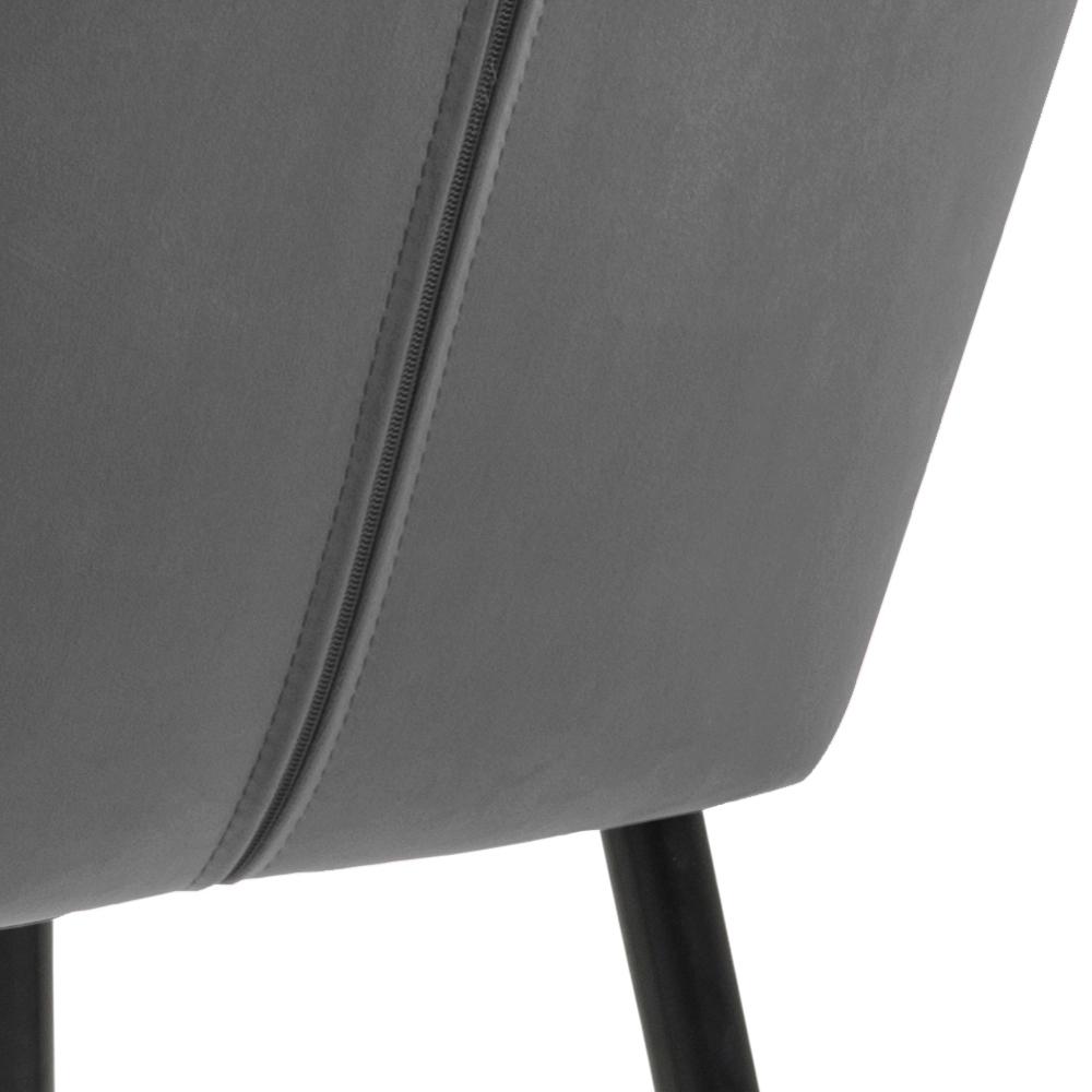 Chaise rembourrée en velours  pieds métal gris foncé