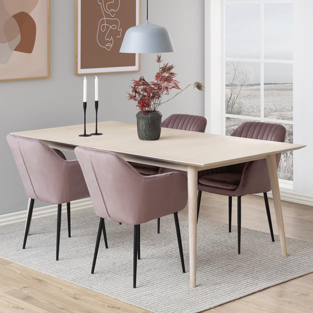 Chaise rembourrée en velours  pieds métal rose poudré