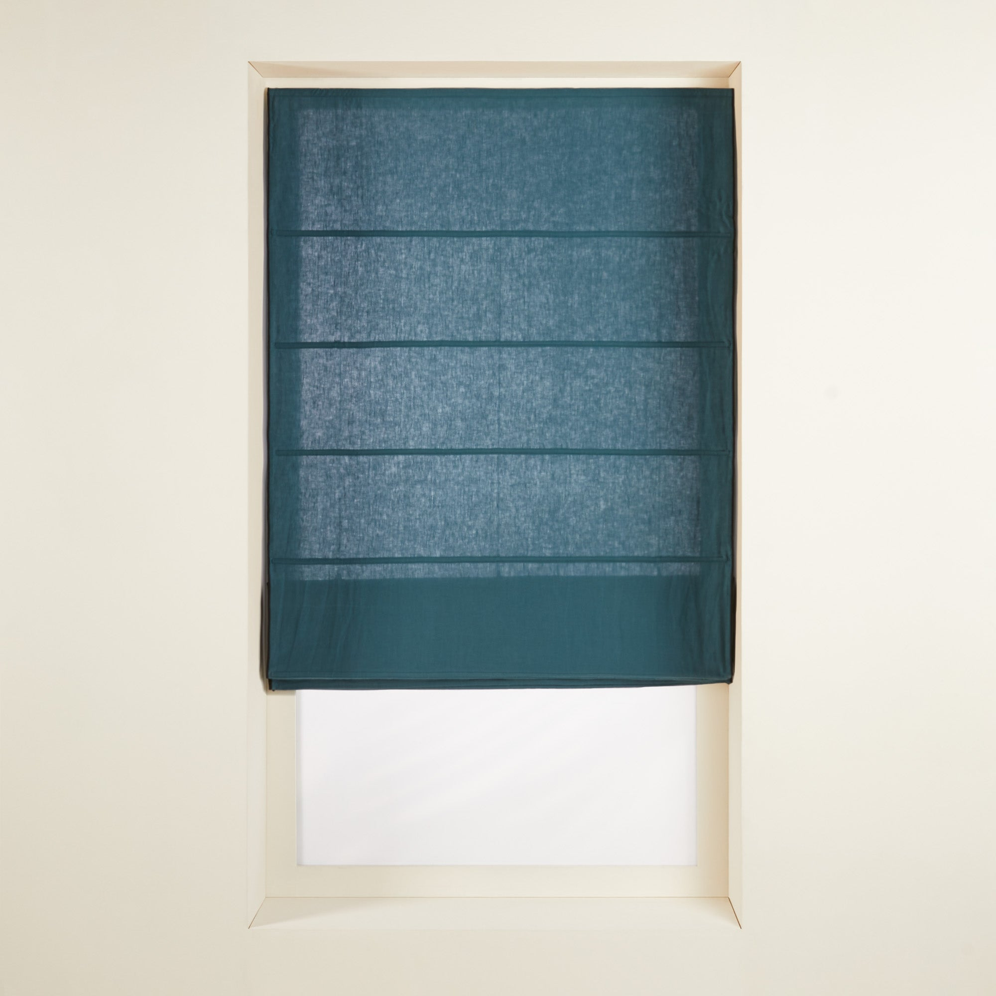 Store bateau 60x220 cm Bleu vert et bourdon noir en Lin