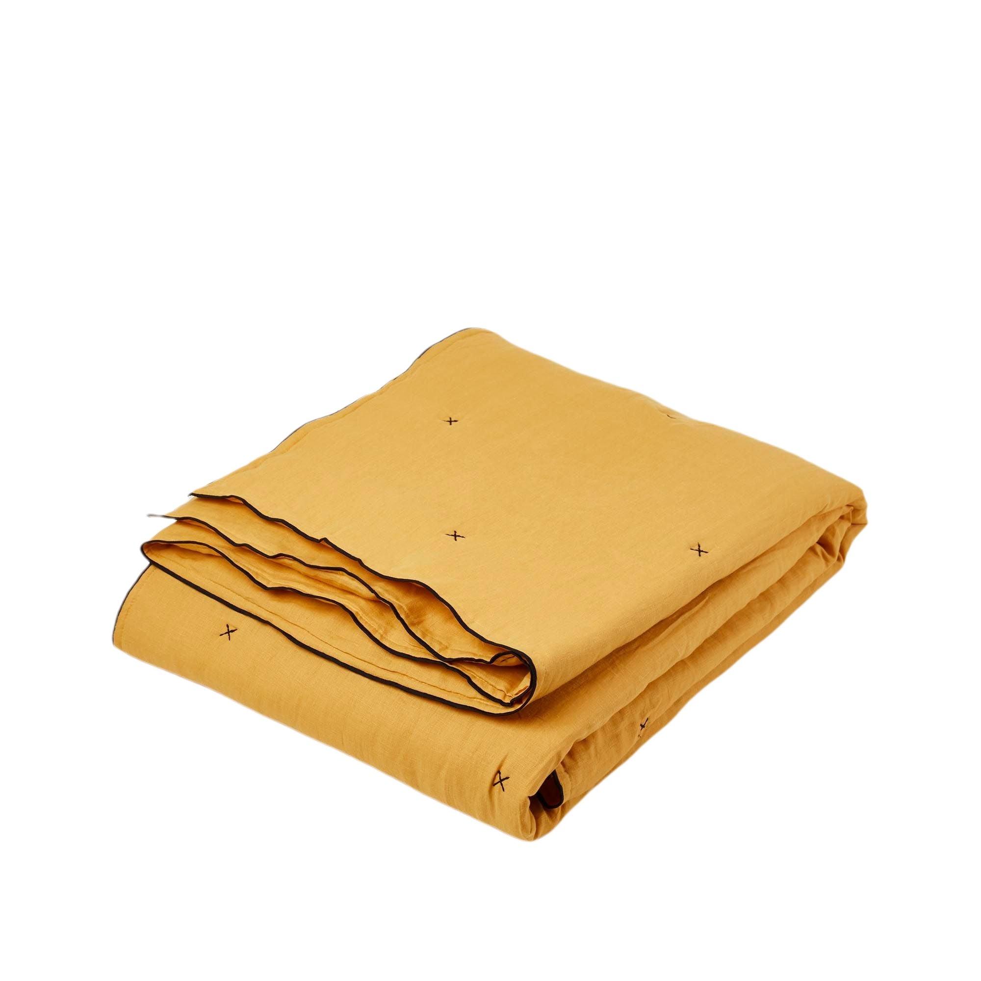 Couvre-lit matelassé 250x280 cm Jaune ocre et bourdon noir en Lin