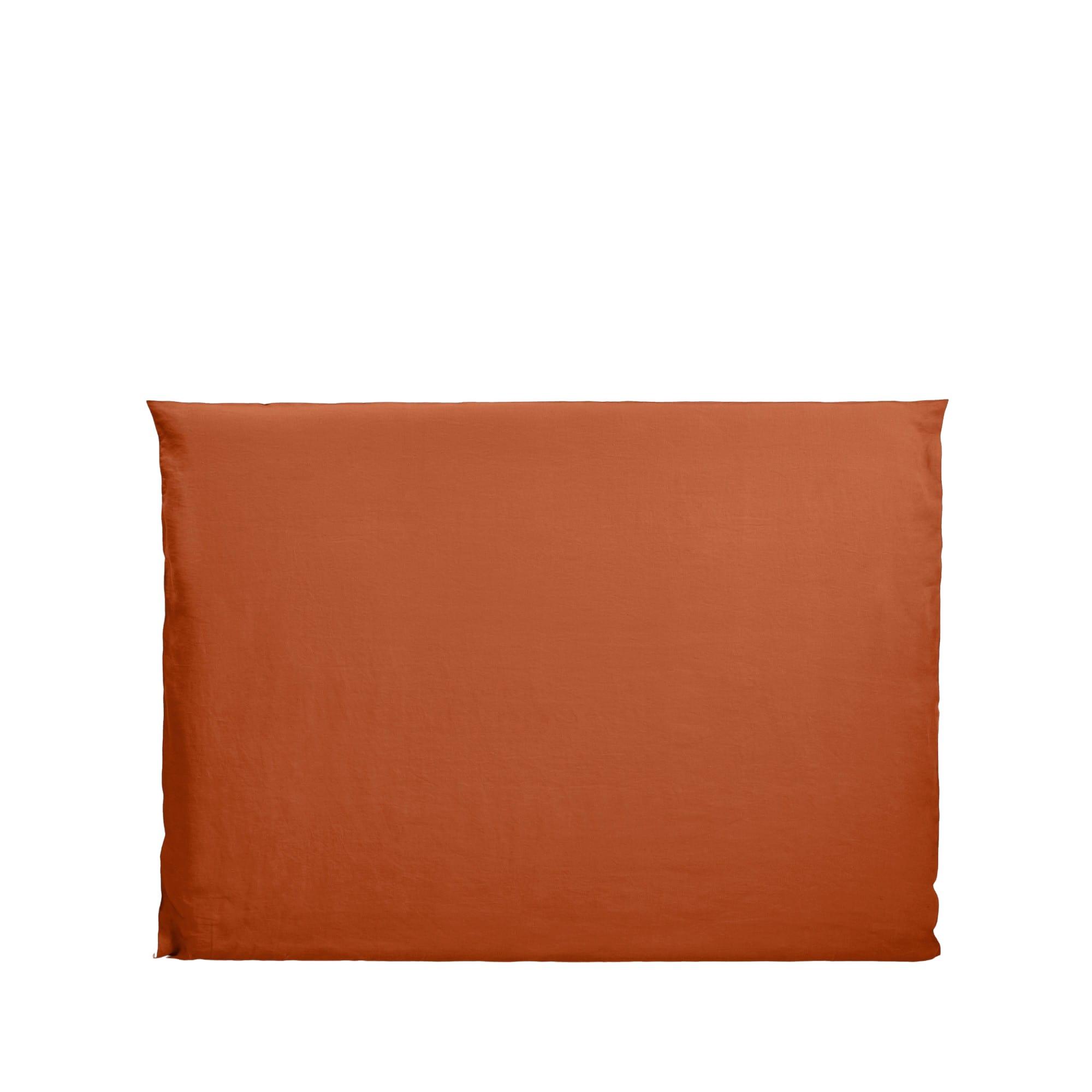 Housse de tête de lit 170x134 cm Terracotta et bourdon noir en Lin