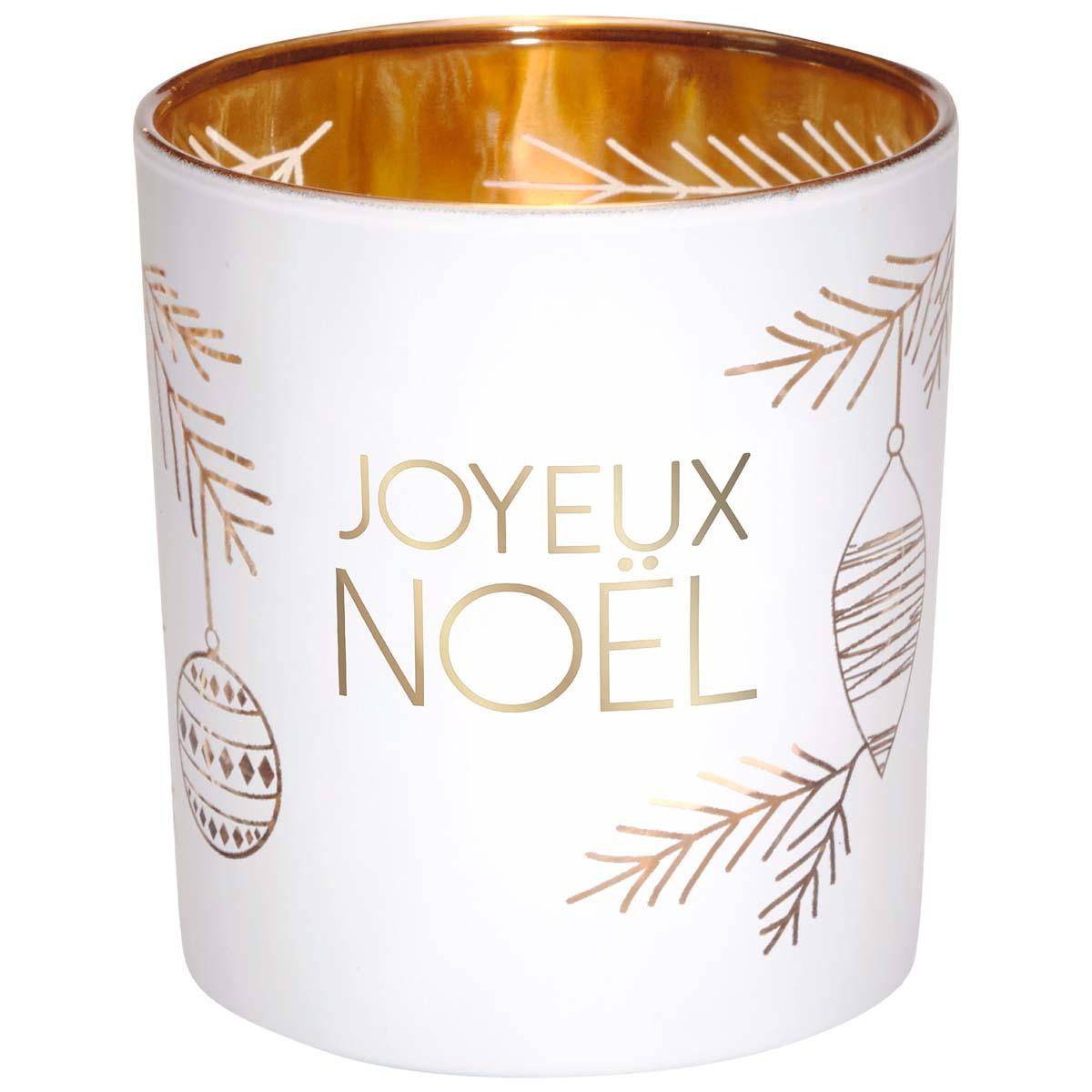 Photophore en verre blanc et or joyeux noël motif boules de Noël