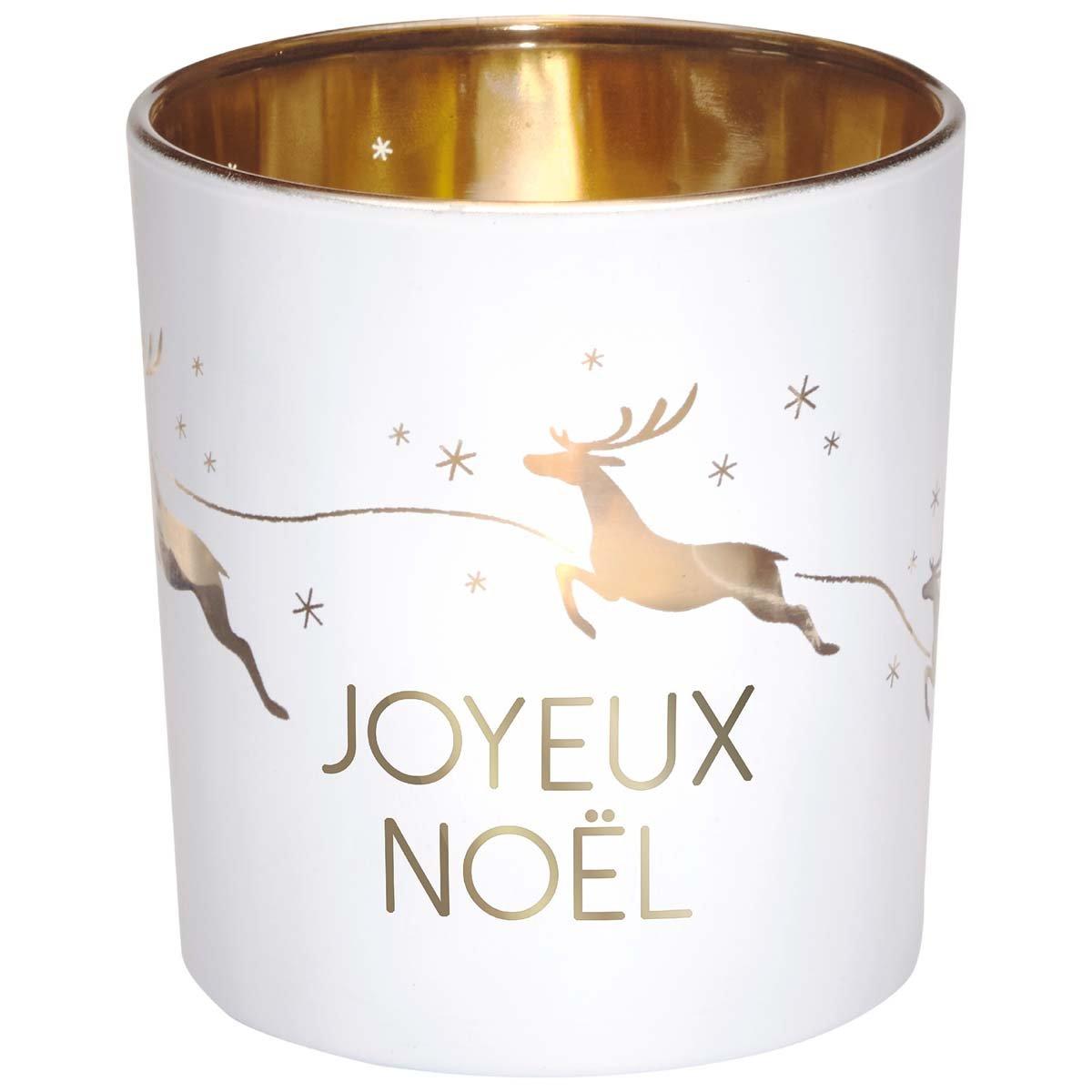 Photophore en verre blanc et or joyeux Noël