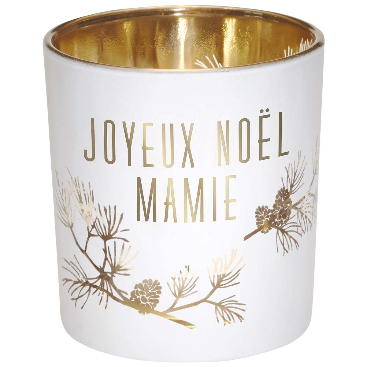 Photophore en verre blanc et or joyeux Noël mamie