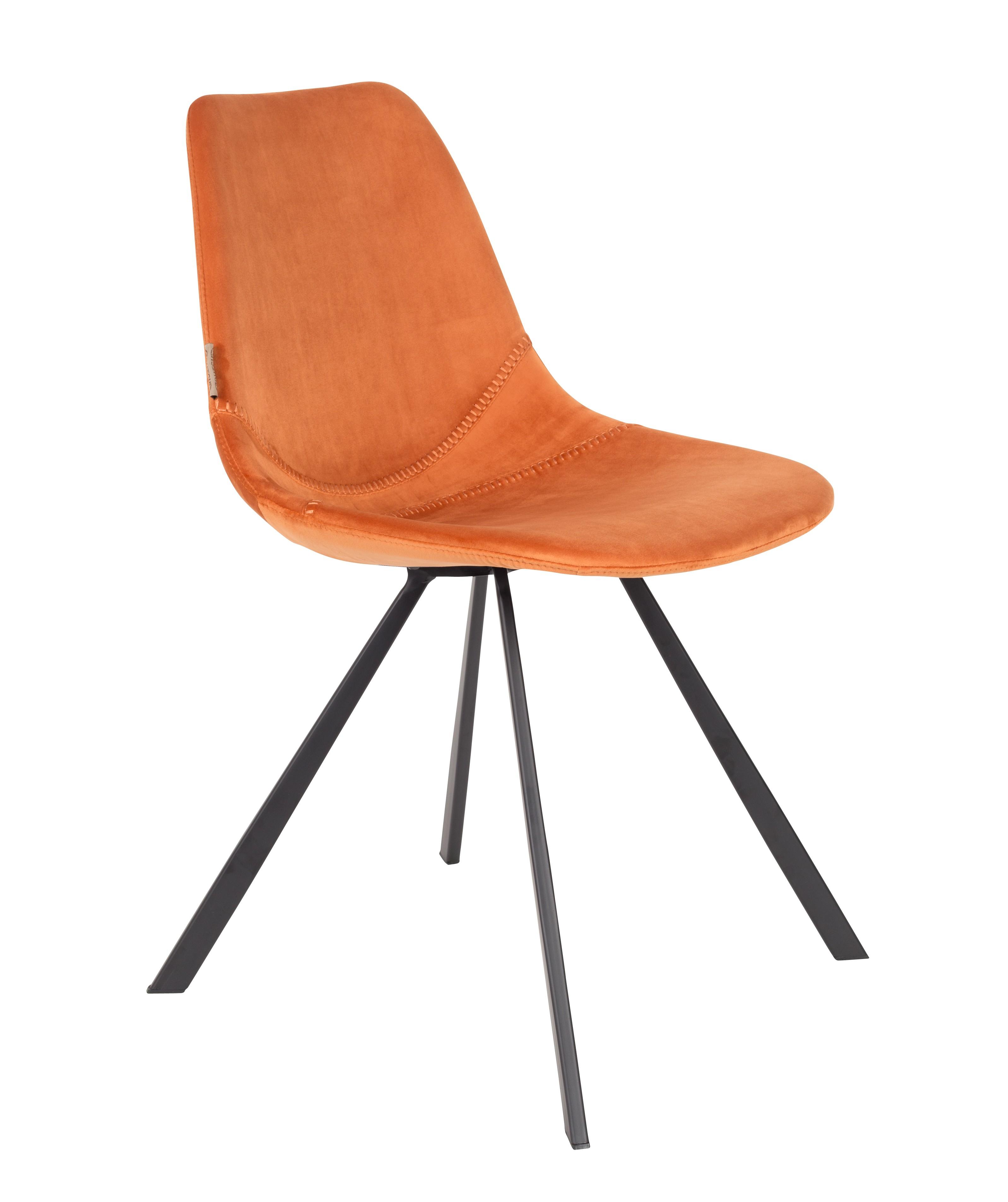Chaise de repas velours orange