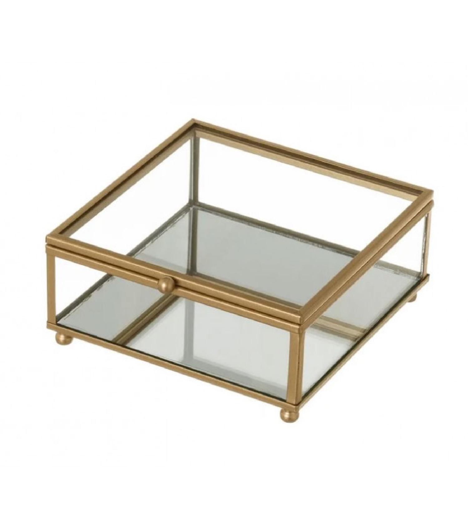 Boîte à bijoux en métal doré et verre 13.5x14x6cm