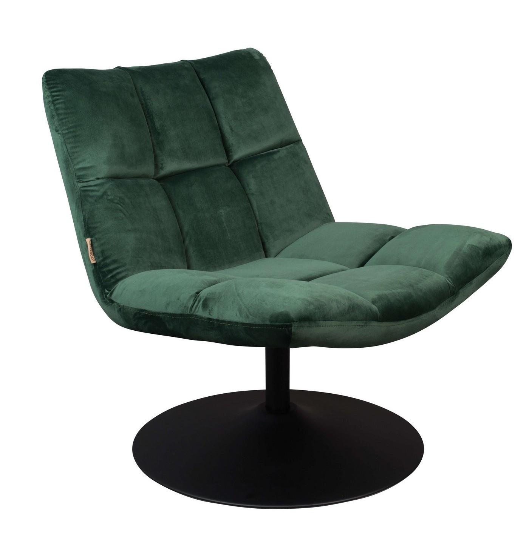 Fauteuil design pivotant en velours vert
