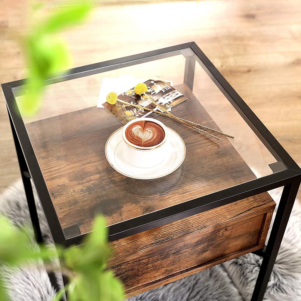 Table basse 43x43 cm tiroir effet bois foncé noir