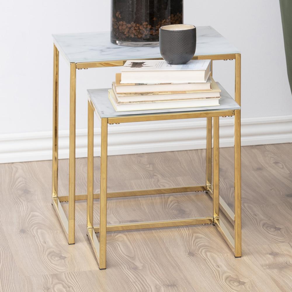 Tables gigognes 45x45 cm et 35x35 cm marbre doré