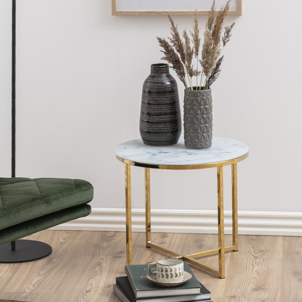 Table de café 50 cm pieds en métal chromé marbre doré
