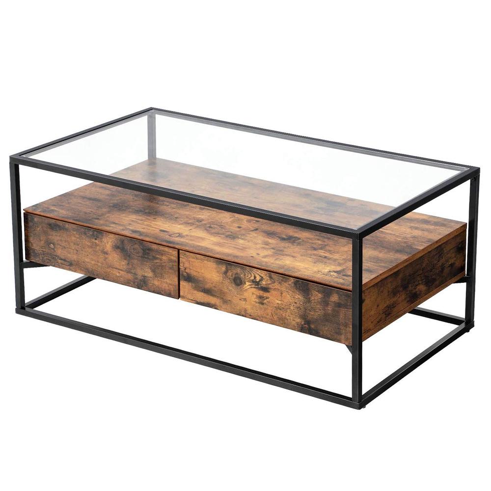 Table basse 2 tiroirs verre trempé effet bois foncé noir