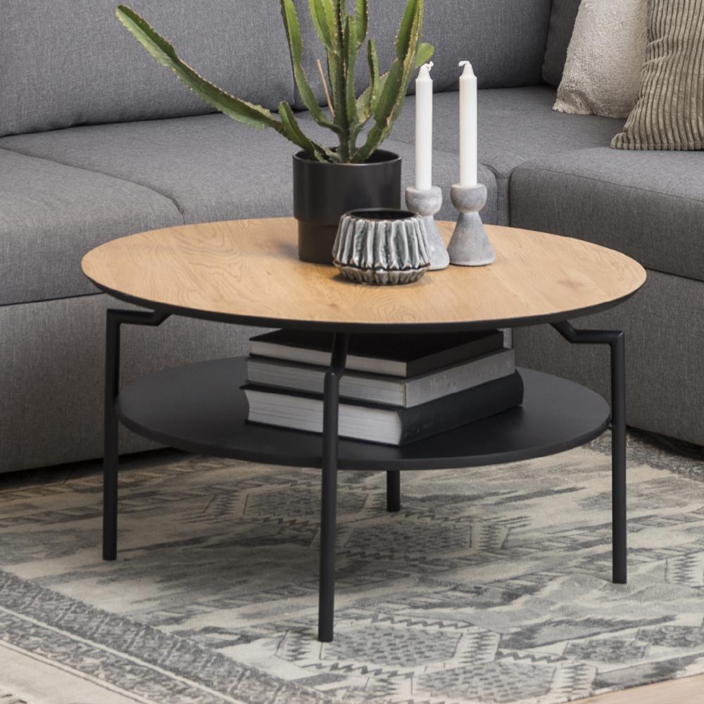 Table de café 80 cm pieds en métal noir chêne