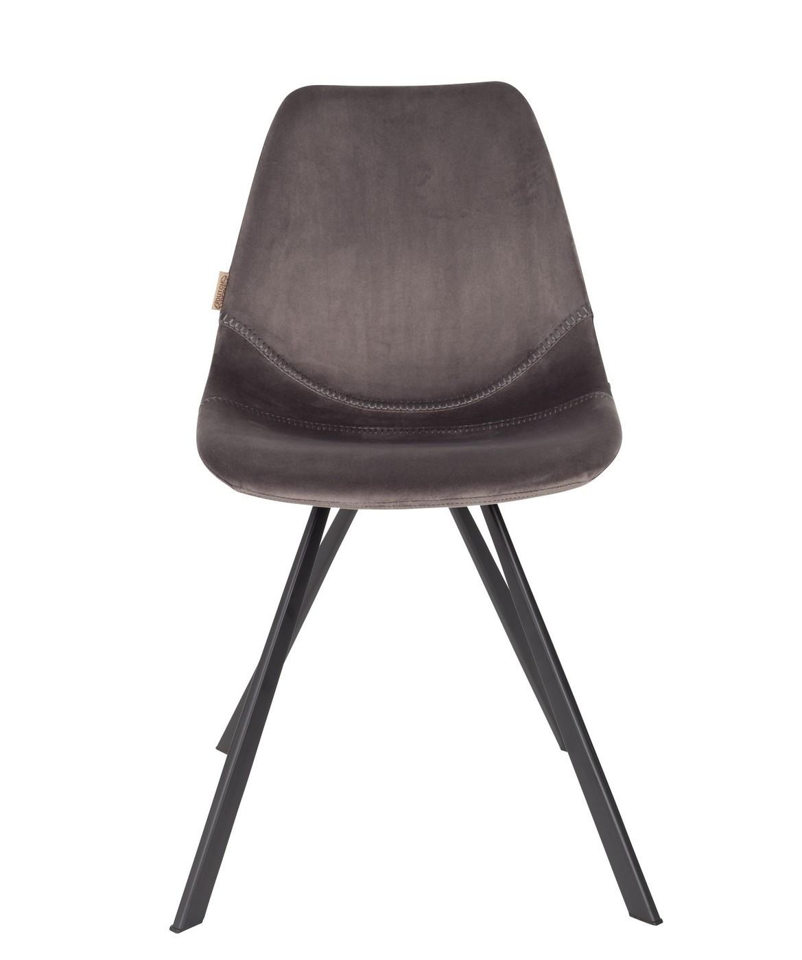 Chaise de repas velours gris