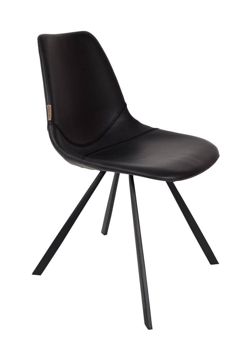 Chaise design de repas aspect cuir noir vintage
