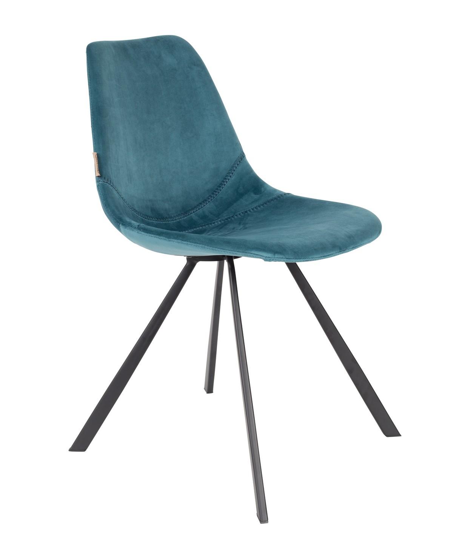 Chaise de repas velours bleu