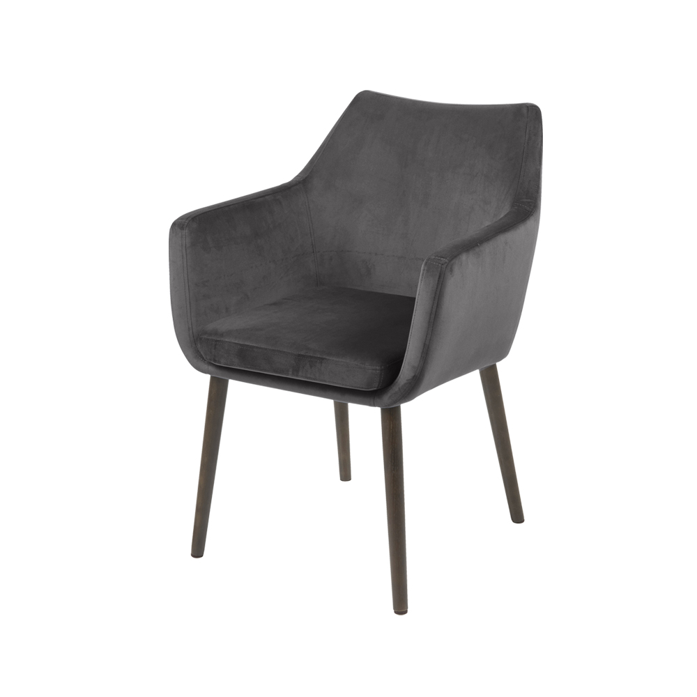 Chaise design 58 cm pieds en bois de chêne gris brun
