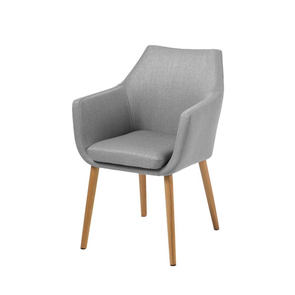 Chaise design 58 cm pieds en bois de chêne gris clair