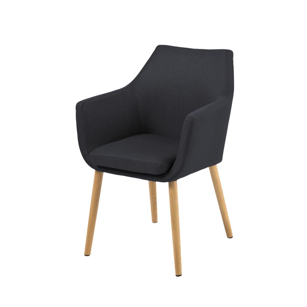 Chaise design 58 cm pieds en bois de chêne graphite